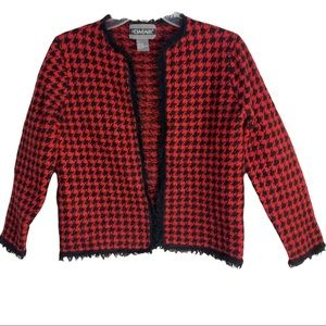Nouveau wool red/black houndstooth sweater size L
